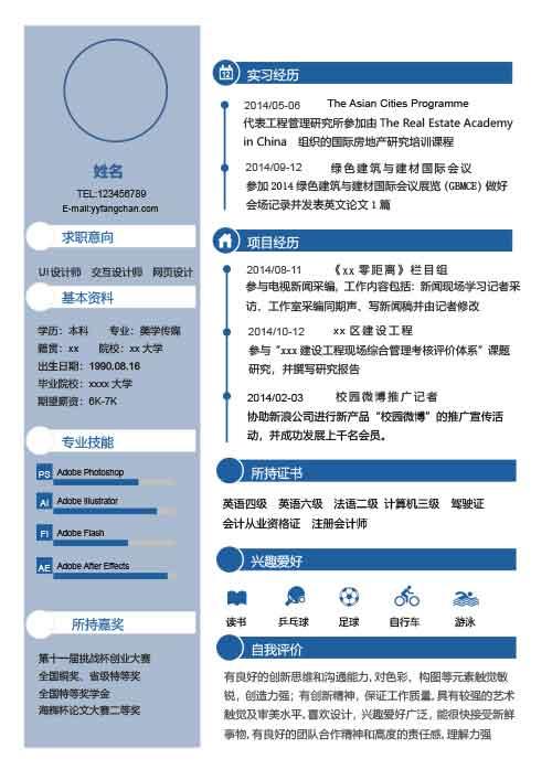 互联网文案策划简历模板